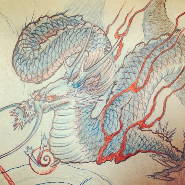 #dragon #tattoo #dragontattoo #irezumi #gasentattoo #gasen #今日は休み #するコトない #昨日、酔っ払って描いたやーつー