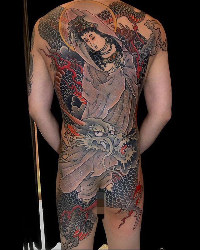 伊勢から毎度長旅お疲れ様でしたm(_ _)m#騎龍観音 #刺青 #タトゥー #japanesetattoo  #tattoo #gasentattoo #zapink - from Instagram