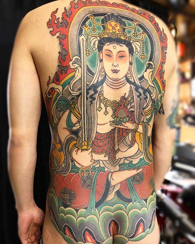 お疲れ様でしたm(_ _)m#japanesetattoo #tattoo #buddhatattoo  #刺青 #虚空蔵菩薩 #虚空蔵法輪寺 - from Instagram