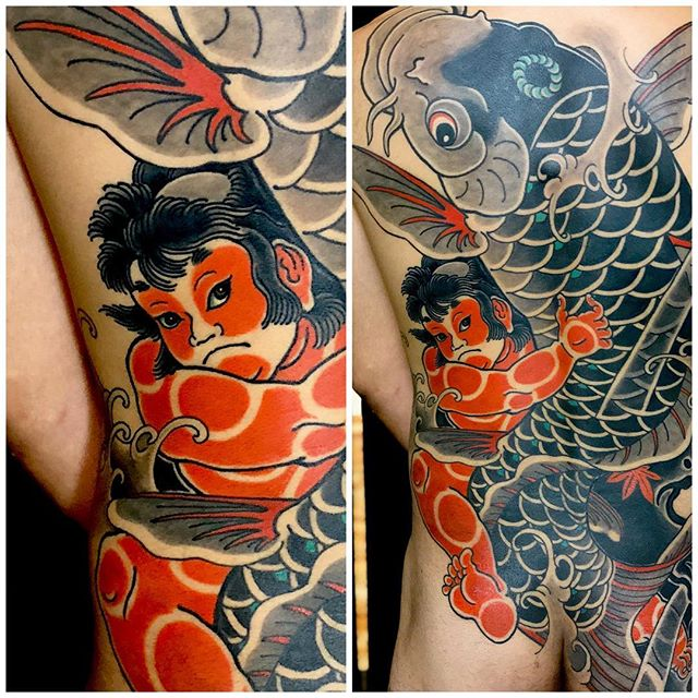 お疲れ様でした!#金太郎 #金太郎鯉 #鯉金 #刺青 #タトゥー #japanesetattoo #tattoo - from Instagram