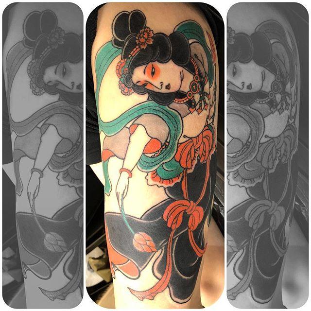 広島からわざわざありがとう御座いました。#天女 #羽衣天女 #刺青 #タトゥー #japanesetattoo #tattoo - from Instagram